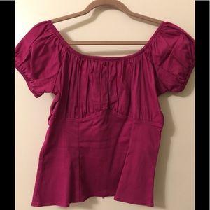 Pinup Girl Fuchsia Pink Peasant Blouse (L)